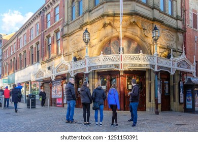 BLACKPOOL, ENGLAND - OCTOBER 26, 2018: Grand Theatre during an autumn weekend. This classic theathre was openend in 1894 in Blackpool, which is one of Englands favourite seaside resorts.