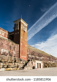 Blackpool, England, UK - August 1, 2015: A lift tower built into the cliffs at Blackpool Beach enables bathes to reach the art deco Blackpool Lido.