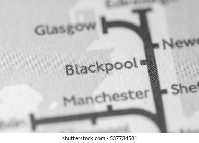Blackpool, England, UK on a geographical map.