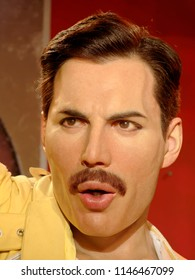 BLACKPOOL, JANUARY 14: Freddie Mercury's wax statue at Madame Tussauds, UK 2018.