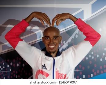 BLACKPOOL, JANUARY 14: Madame Tussauds Blackpool, UK 2018. Sir Mohamed Muktar Jama Mo Farah, is the United Kingdom's most successful distance runner.