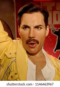 BLACKPOOL, JANUARY 14: Madame Tussauds, UK 2018. Wax statue of Freddie Mercury - British singer, songwriter and record producer, best known as the lead vocalist of the rock band Queen.