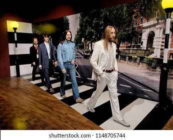 BLACKPOOL, JANUARY 14: Madame Tussauds, UK 2018. The Beatles were an English rock band formed in Liverpool in 1960. With members John Lennon, Paul McCartney, George Harrison and Ringo Starr.
