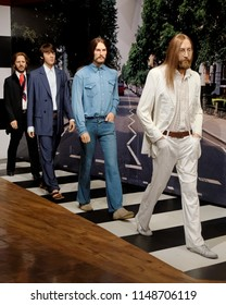 BLACKPOOL, JANUARY 14: Madame Tussauds, UK 2018. John Lennon, Paul McCartney, George Harrison and Ringo Starr members The Beatles, were an English rock band formed in Liverpool in 1960.