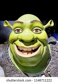 BLACKPOOL, JANUARY 14: Madame Tussauds, UK 2018. Shrek is a fictional green ogre character created by American author William Steig. Shrek is voiced by Mike Myers.