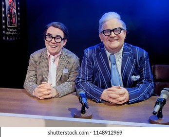 BLACKPOOL, JANUARY 14: Madame Tussauds, UK, 2018. Ronald Balfour Corbett was a Scottish comedian, actor, known for his association with Ronnie Barker in the BBC comedy sketch show The Two Ronnies.