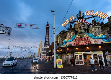 Blackpool - Lancashire - 26th March 2019 The world famous Blackpool Tower and beach surround by hotels, pubs and the seaside on a Summers day at one of Great Britains most popular holiday destinations