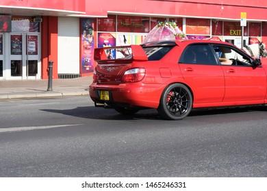 Blackpool, Lancashire. 7th July 2019: subaru impreza wrx sti 2006 model with private boost registration and black alloys