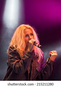 Blackpool, Lancashire, UK. August 29th 2014. Pixie Lott apears live on stage at the Blackpool Lights Switch on Concert.