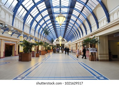 Blackpool, Lancashire, UK. January 21, 2018: Group of people visiting the Floral Hall at  the annual Winter Gardens open day