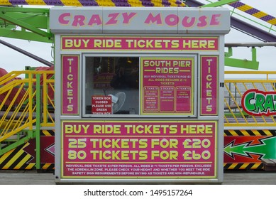 Blackpool, Lancashire/UK - September 3rd 2019: the ticket booth at the Crazy Mouse amusement park ride