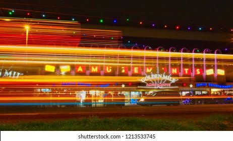 Blackpool Promenade,Lancashire,UK.09,07,2018.Light trails on Blackpool promenade.09,07,2018.