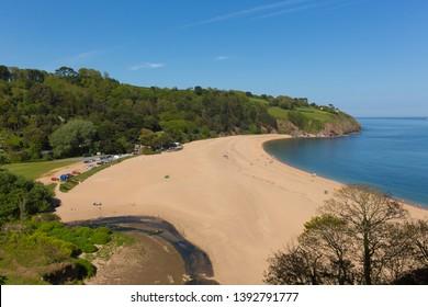 Blackpool Sands beach near Devon England UK near Stoke Fleming, with blue sky and sea