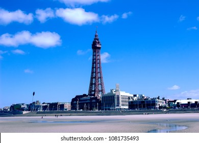 Blackpool tower and beachfront landscape. England resort