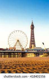 Blackpool Tower and Central Pier Ferris Wheel, Lancashire, England, UK