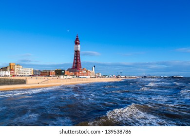 Blackpool Tower, from the North Pier, Lancashire, England, UK