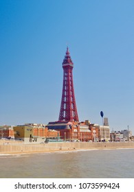 Blackpool Tower and Promenade.Lancashire,England.04,20.2018.Blackpool promenade with its famous tower.04,20,2018.