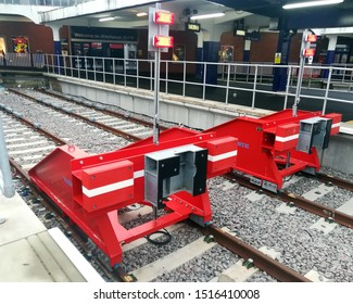Blackpool, UK - 31 December 2018: The new buffer stops at the end of track in Blackpool North railway station.