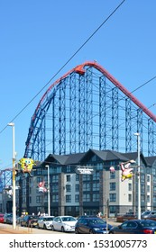 Blackpool / UK - August 2019: The 'Big One' formally known as the 'Pepsi Max' is the UK's tallest roller coaster standing at an impressive 235ft and is located at Blackpool Pleasure Beach.
