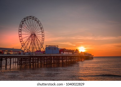 Blackpool, UK - February 24th, 2018: Central pier at sunset