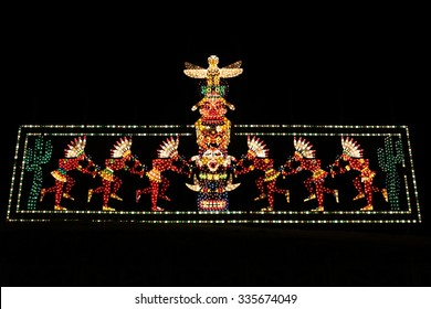BLACKPOOL, UK,- NOVEMBER 4, 2015: Tribute to Native Americans tableau detail of the famous Blackpool Illuminations light display on NOVEMBER 4, 2015.