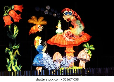BLACKPOOL, UK,- NOVEMBER 4, 2015: Detail of the famous Blackpool Illuminations light display on NOVEMBER 4, 2015.