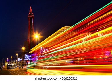 Blackpool, Uk, September 14 - 2016. Blackpool Tower and Illuminations, with Light Tralis From a Tram, Lancashire, England