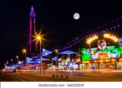 Blackpool, Uk, September 14 - 2016. Blackpool Tower and Illuminations with the Moon, Lancashire, England