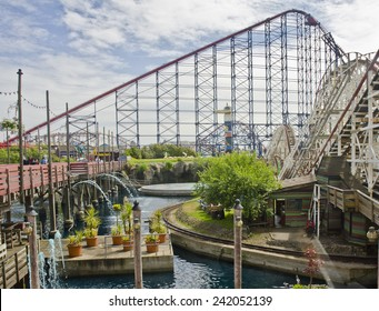 BLACKPOOL, UNITED KINGDOM - JUNE 24: the Big One rollercoaster at Blackpool Pleasure Beach on June 24, 2014 in Blackpool, United Kingdom. The Big One was built in 1994 at a cost of GBP 12 million.
