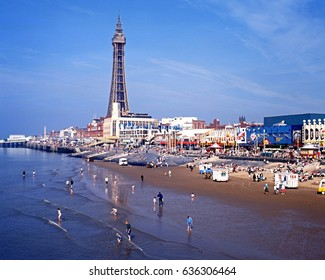 BLACKPOOL, UNITED KINGDOM - OCTOBER 21, 1994 - Elevated view of the tower and beach, Blackpool, Lancashire, England, UK, Western Europe, October 21, 1994.