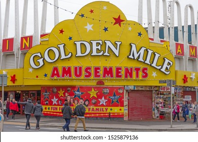 Blackpool,Lancashire/England - 05.10.2019 - Front view of Golden Mile amusements arcade on Blackpool`s golden mile