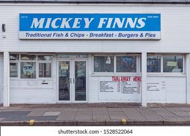 Blackpool,Lancashire/England - 10.10.2019 - Mickey Finns fish & chip shop Blackpool New Bonny Street