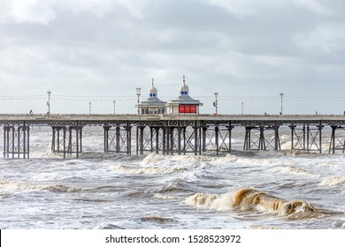 Blackpool,Lancashire/England - 10.10.2019 - Section of North Pier Blackpool in stormy seas