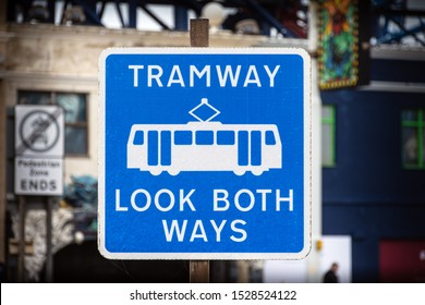 Blackpool,Lancashire/England - 10.10.2019 - Tramway sign board telling people to look bothways white letters on blue background