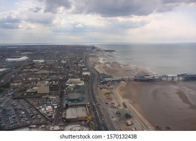 Blackpool,Lancashire/England - 12 May 2010: Aerial view of The famous  Golden mile at Blackpool in England
