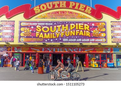Blackpool,Lancashire/England - 21.09.2019 - Front view of south pier entrance with tourist enjoying the sunny weather