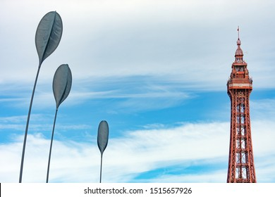 Blackpool,Lancashire/England - 23.09.2019 - Blackpool promenade modern sculptures with Blackpool Tower in the background