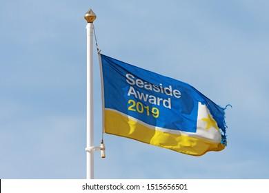Blackpool,Lancashire/England - 23.09.2019 - Blackpool seaside award flag for 2019