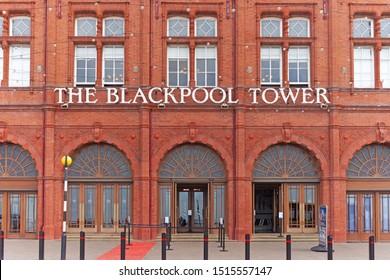 Blackpool,Lancashire/England - 23.09.2019 - The Blackpool Tower promenade front entrance