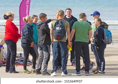 Blackpool,Lancashire/England - 23.09.2019 - Group of young people talking