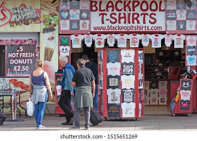 Blackpool,Lancashire/England - 23.09.2019 - Hot fresh donuts and t-shirt shop