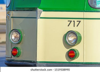 Blackpool,Lancashire/England - 28.09.2019 - Close up front view of tram 717 head lights and indicators