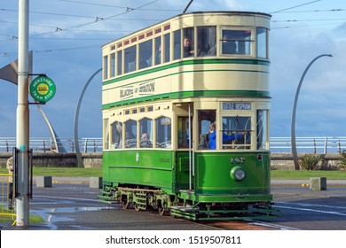 Blackpool,Lancashire/England - 28.09.2019 - Oxford tram model 147 cream & green livery parked at pleasure beach loop