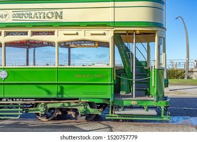 Blackpool,Lancashire/England - 28.09.2019 - Tram 147 livery cream & green parked at pleasure beach loop