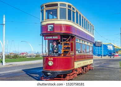 Blackpool,Lancashire/England - 28.09.2019 - Tram 66 double deck livery colours maroon and cream parked at pleasure beach loop