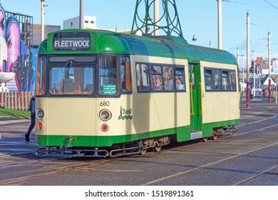 Blackpool,Lancashire/England - 28.09.2019 - Tram 680 single deck green & cream livery destination fleetwood