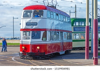 Blackpool,Lancashire/England - 28.09.2019 - Tram 701 balloon double deck livery colours red & white leaving pleasure beach loop