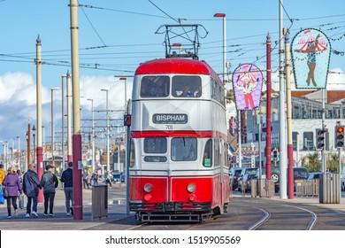Blackpool,Lancashire/England - 28.09.2019 - Tram 701 balloon double deck livery colours red & white destination bispham