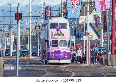 Blackpool,Lancashire/England - 28.09.2019 - Tram 713 balloon double deck livery colours white & purple in service