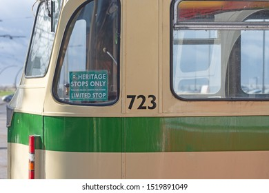 Blackpool,Lancashire/England - 28.09.2019 - Tram 723 balloon double deck green & cream livery displaying heritage sign